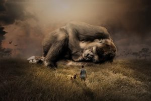 Dětské básničky: G: Gorila u grilu (z rubrik Říkanková abeceda, Básničky o zvířátkách, Básničky o jídle)